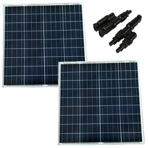 2x Panel Solar Fotovoltaico 60wp = 120wp + Branch Mc4 2 A 1