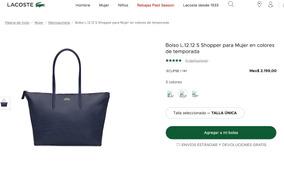 Bolso L.12.12 S Shopper Para Mujer De Temporada Lacoste