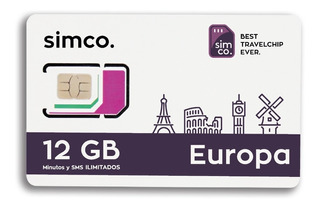 Sim Chip Plan Europa 12 Gb + Min + Sms