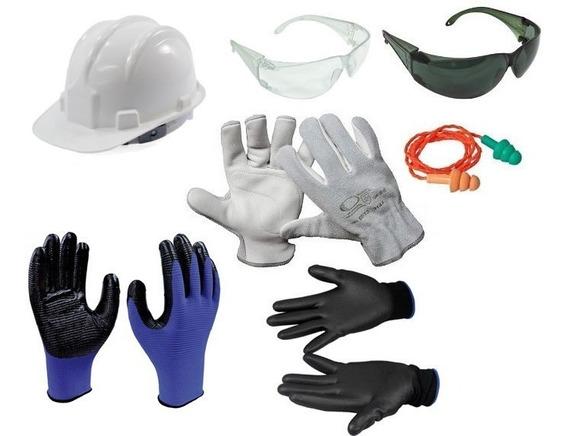 Kit Proteção Óculos + Capacete + 4 Luva P/ Obras Contrução