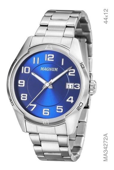 Relógio Magnum Masculino Prata Fundo Azul Ma34272a Aço
