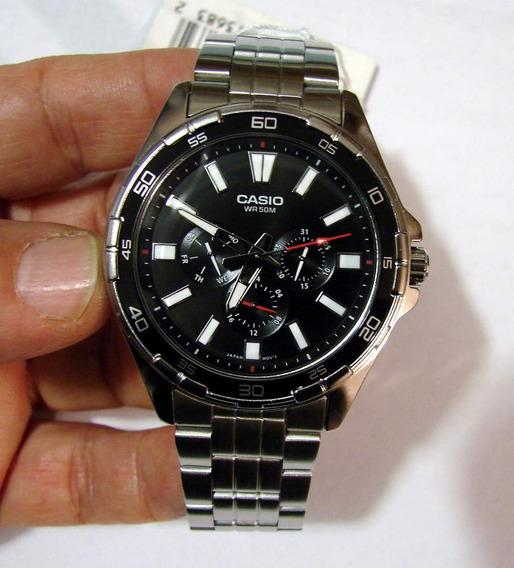 Relogio Casio Mtd 300d-1 Aço Calendário Wr50m Bonito Nf