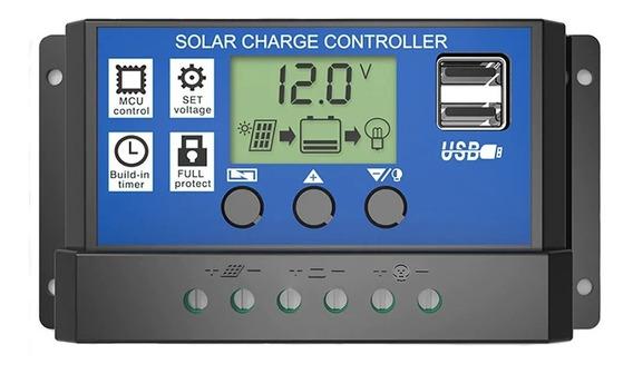 Controlador De Carga 20a 12v/24v Regulador Solar Dual Usb