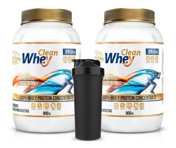 2x Clean Whey Concentrada 81% - 900g - Clean Whey + Brinde