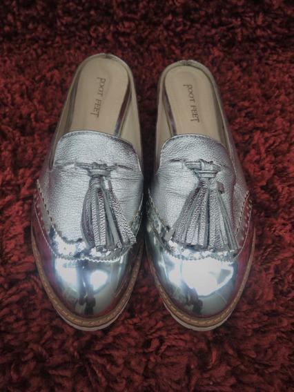 310 - Mule Feet Foot, Prateado Com Solado De Borracha Branca