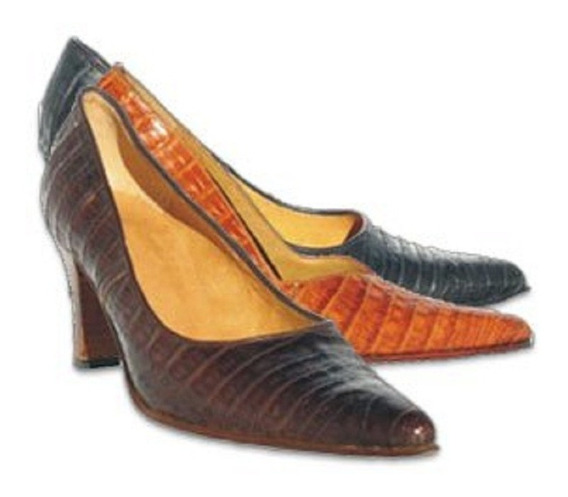 Zapato Cuero De Cocodrilo Dama Mujer