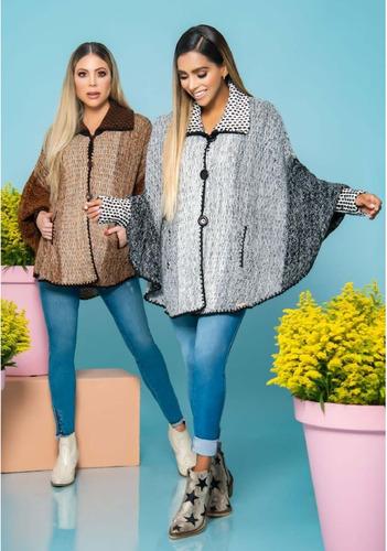 Hermosa Ruana Poncho Para Mujer Saco Sueter Sweater Tejido