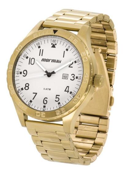 Relógio Mormaii Masculino Dourado Fundo Cinza Mo2115an/4c