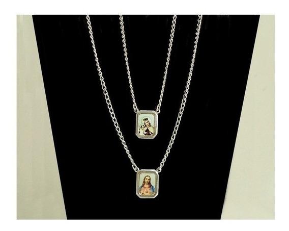 Escapulário Aço Inox Kit Com 6 Unid Sagrado Coração De Jesus