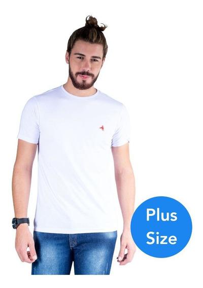 Camiseta Hipica Polo Gola Careca Cavalo Plus Size Branco