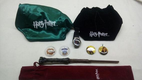 Coleção Harry Potter 8 Itens Relogio E Varinha Botons Bolsas