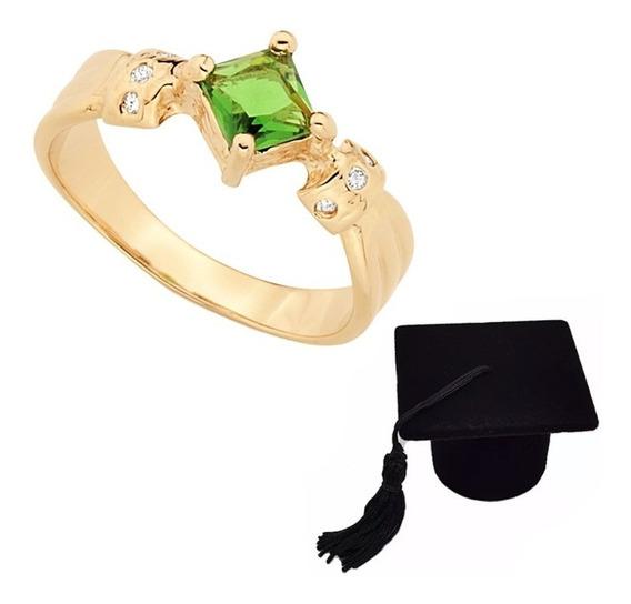 Anel Formatura Pedra Verde Esmeralda Rommanel 512152 + Caixa