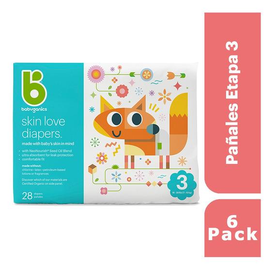 6 Pack: Babyganics Pañales Etapa 3, 28 Unidades C/u