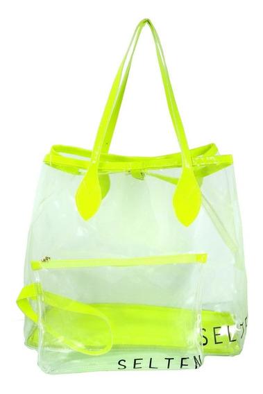 Bolsa De Praia Transparente Feminina Com Necessaire Neon