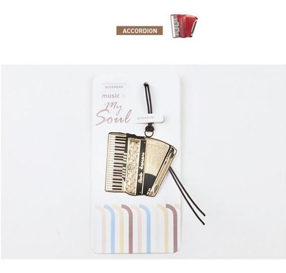 Marcador De Livro Metal Instrumento Sanfona / Acordeon