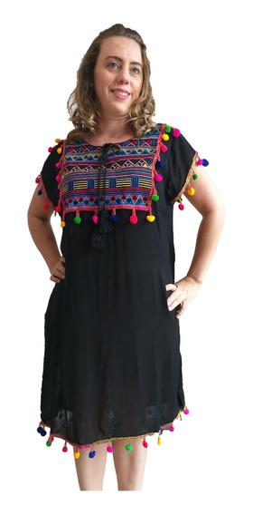 Vestido Crepe Bordado Saída De Praia Com Bolso Plus Size