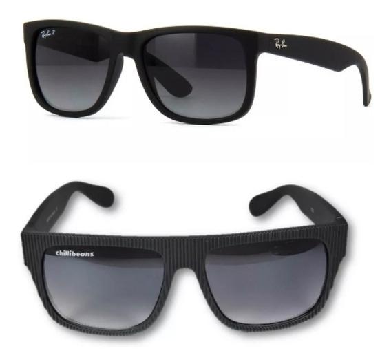 10 Unds D/óculos Polarizado Justin E Chillibeans Preto Fosco