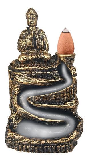 Porta Incenso Cascata Buda Rezando Zen Cachoeira Resina Ouro