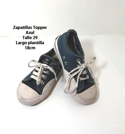 Zapatillas Topper Tela Azul Talle 29 Usadas