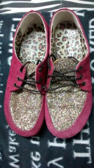 Zapatos Botitas Sandalias Fucsia Brillos Y Animal Print Rock