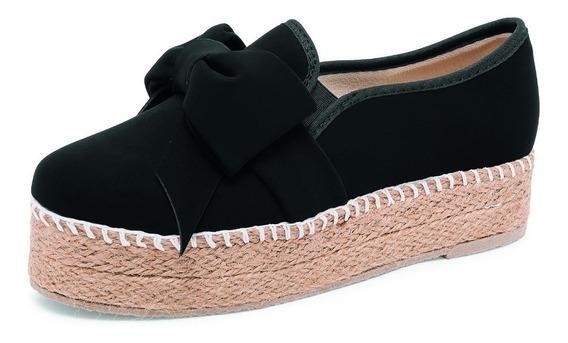 Zapato Casual Con Plataforma Color Negro Con Moño Decorativo