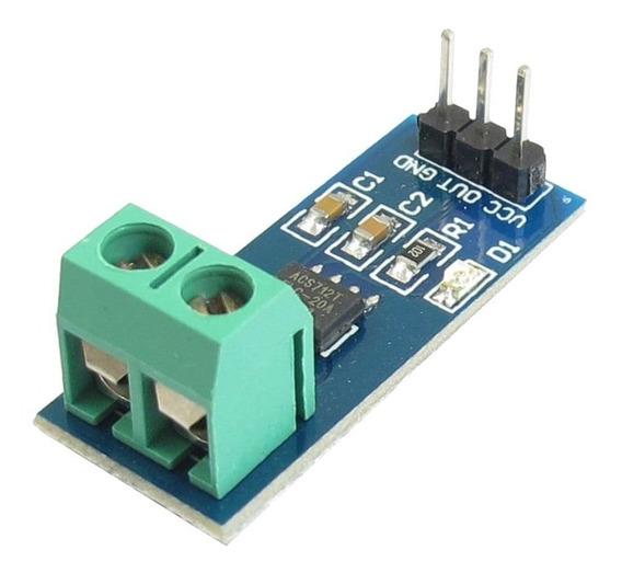 Sensor De Corrente 20a Efeito Hall Módulo Acs712 Telc-20a
