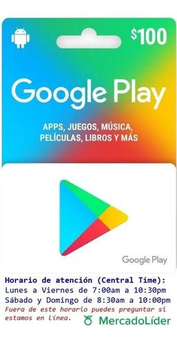 Imagen 1 de 1 de Tarjeta Google Play 100 Mercado Lider