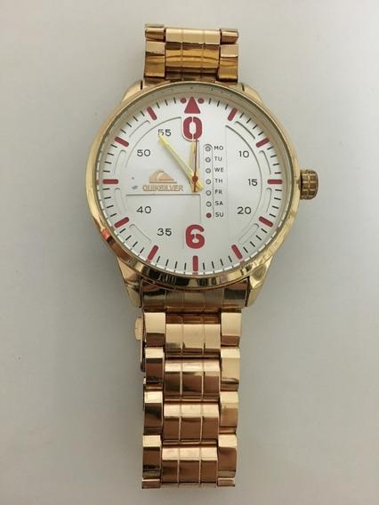 Relógio Quiksilver, Dourado, Calendário, Antigo + Brinde