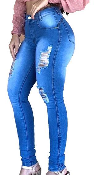 Kit 4 Calças Jeans Feminina Cintura Alta Com Lycra - Barata