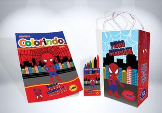 25 Kit Colorir Homem Aranha Cute Revista Sacola Lembrança