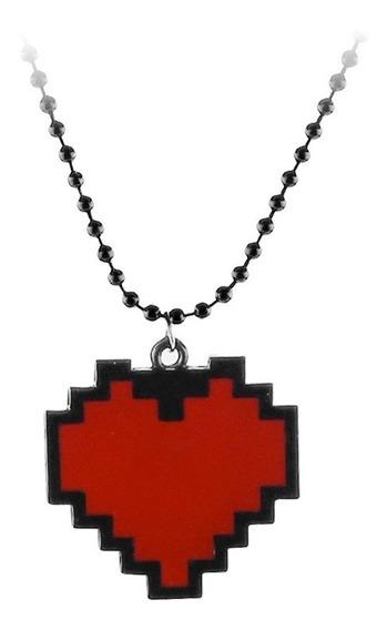 Collar Undertale Metálico Corazón Rojo Pixel