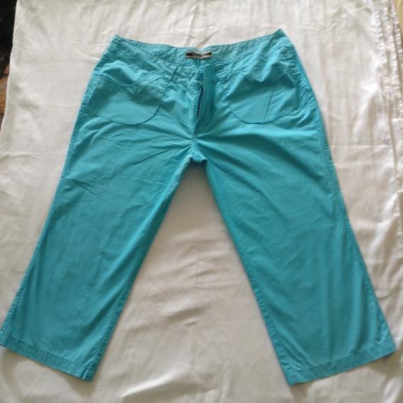 Pantalón Capri Casual De Dama Color Azul Turquesa Talla 36