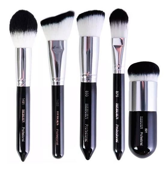 Kit X5 Brocha Maquillaje Profesional Sintetica Fibra Optica