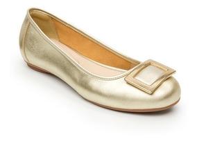 Calzado Dama Mujer Zapato Flexi Casual Piel En Oro Comodo