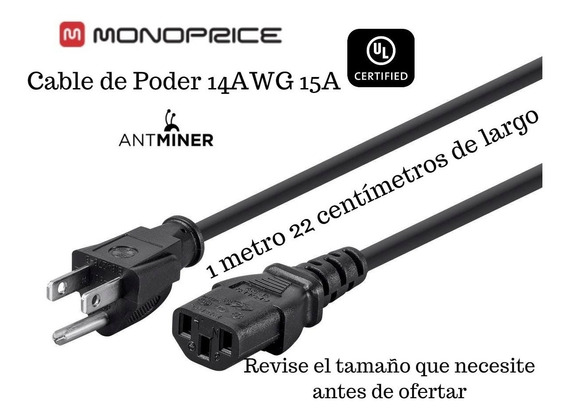 Cable D Poder Monoprice 14awg 15amp 110/220 .92cm