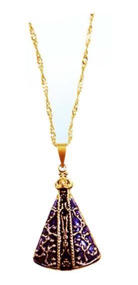 Gargantilha Nossa Senhora Aparecida Dourada Pingente Médio