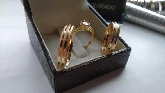 Par De Aliança Banhada A Ouro +anel Solitario E Caixinha