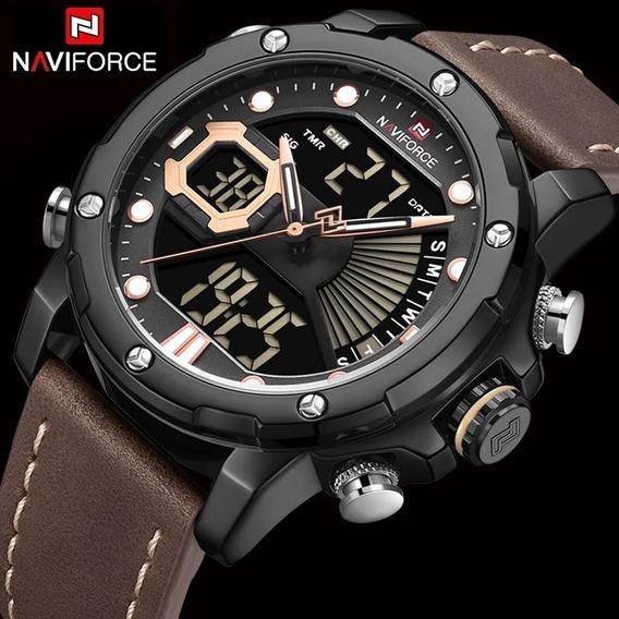 Relógio Militar Esportivo Pulseira Couro Naviforce Promoção