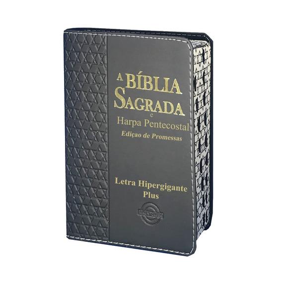 Bíblia Harpa Hipergigante Plus Estrela Davi Masc Preta 14x21