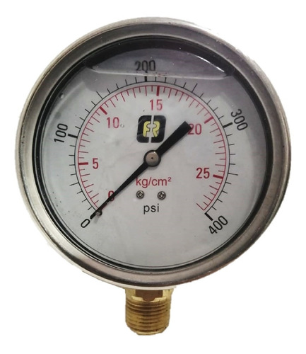 Imagen 1 de 4 de Manómetro Glic 0a400 Psi Conex Vert Bronce Caratula 4 PuLG