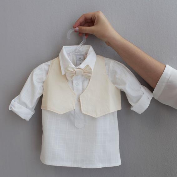 Colete Com Gravata Para Bebê - Bege
