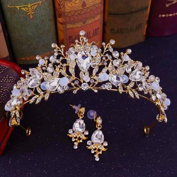 Tiara Corona Para Novia O Quinceañera Dorada, Piedra Cristal