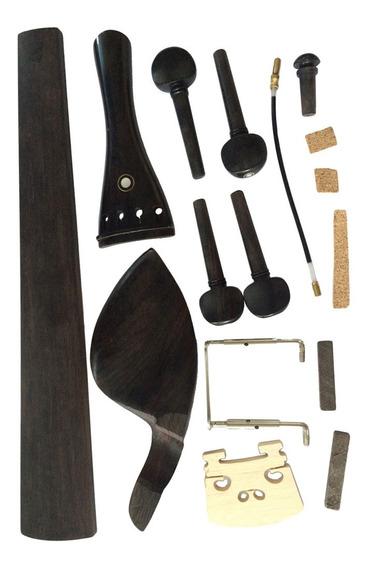 4/4 Violino Parts Chinrest Pegs Arremate Ponte Endpin Braça