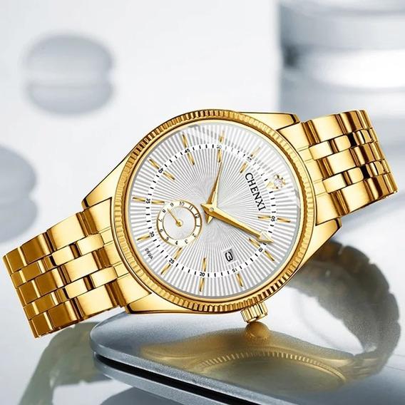 Relógio Masculino Original Dourado Casual A Pronta Entrega