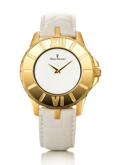 Relógio Pulso Jean Vernier Feminino Couro Branco Jv03215