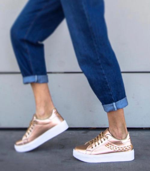Zapato Zapatilla Sneakers Urbana Plataforma Tachas Mujer 750