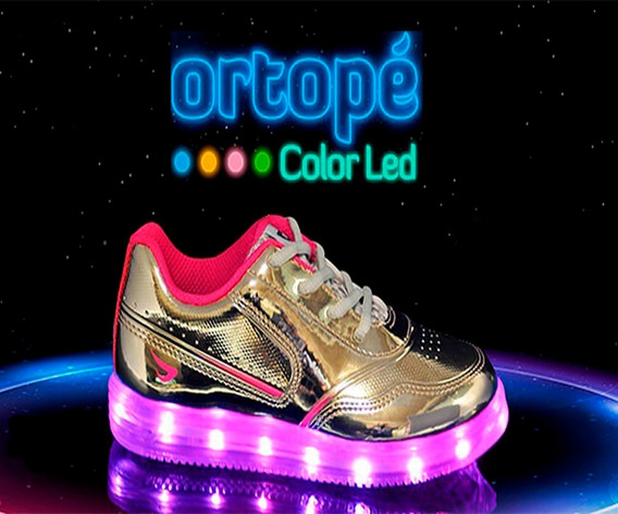 Tenis Dourado Color Led Ortopé 22110001