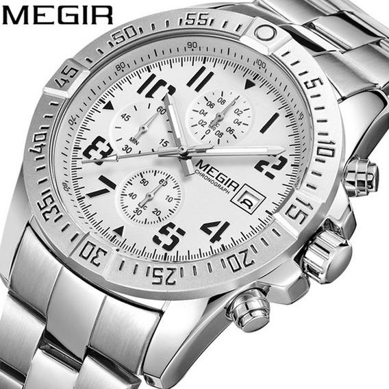 Megir Homens Stainl Aço Strap Log Quartzo Watch Calendário