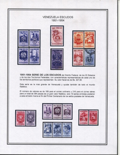 Imagen 1 de 7 de Tdmc Escudos De Venezuela 1951-1954 Álbum Completo