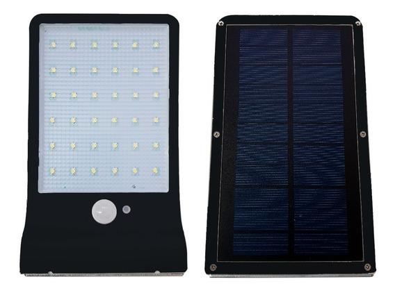 Refletor Solar Parede 60w Potente Sensor Luz Frio Capa Preta
